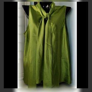 EVAN PICONE Metallic Green Silk Tie Baby Doll Top
